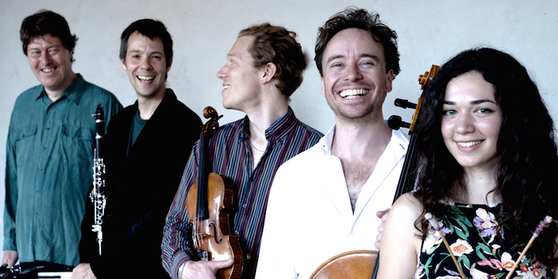 ZRI (from left: Jon Banks, Ben Harlan, Max Baillie, Matthew Sharp, Iris Pissaride): Blending Schubert with folk melodies from Hungarian pub tunes, Jewish klezmer dances, shepherd melodies from the Carpathian mountains and an improvised wedding lament.