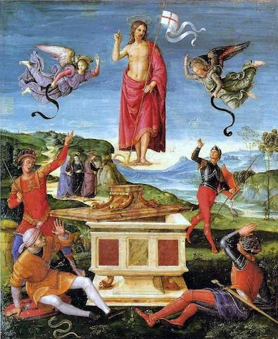 Resurrection of Christ (aka The Kinnaird Resurrection), oil painting on wood by Raphael (1499-1502