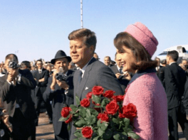 JFK and Jackie Kennedy arrive in Dallas,