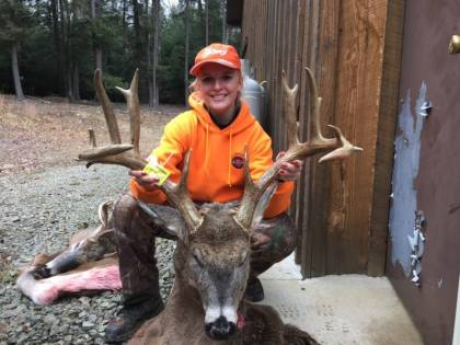 "This is Abby H. and her buck we aged in the 2017 season at 11.5 years old. Abby was all over the local news as the first female hunter to win the local Monster buck contest with an SCI score of 173 6/8"" We were surprised to see so many rings with this deer, further demonstrating this is the only way to know for sure the age of your trophy. Great job ABBY!!!!"