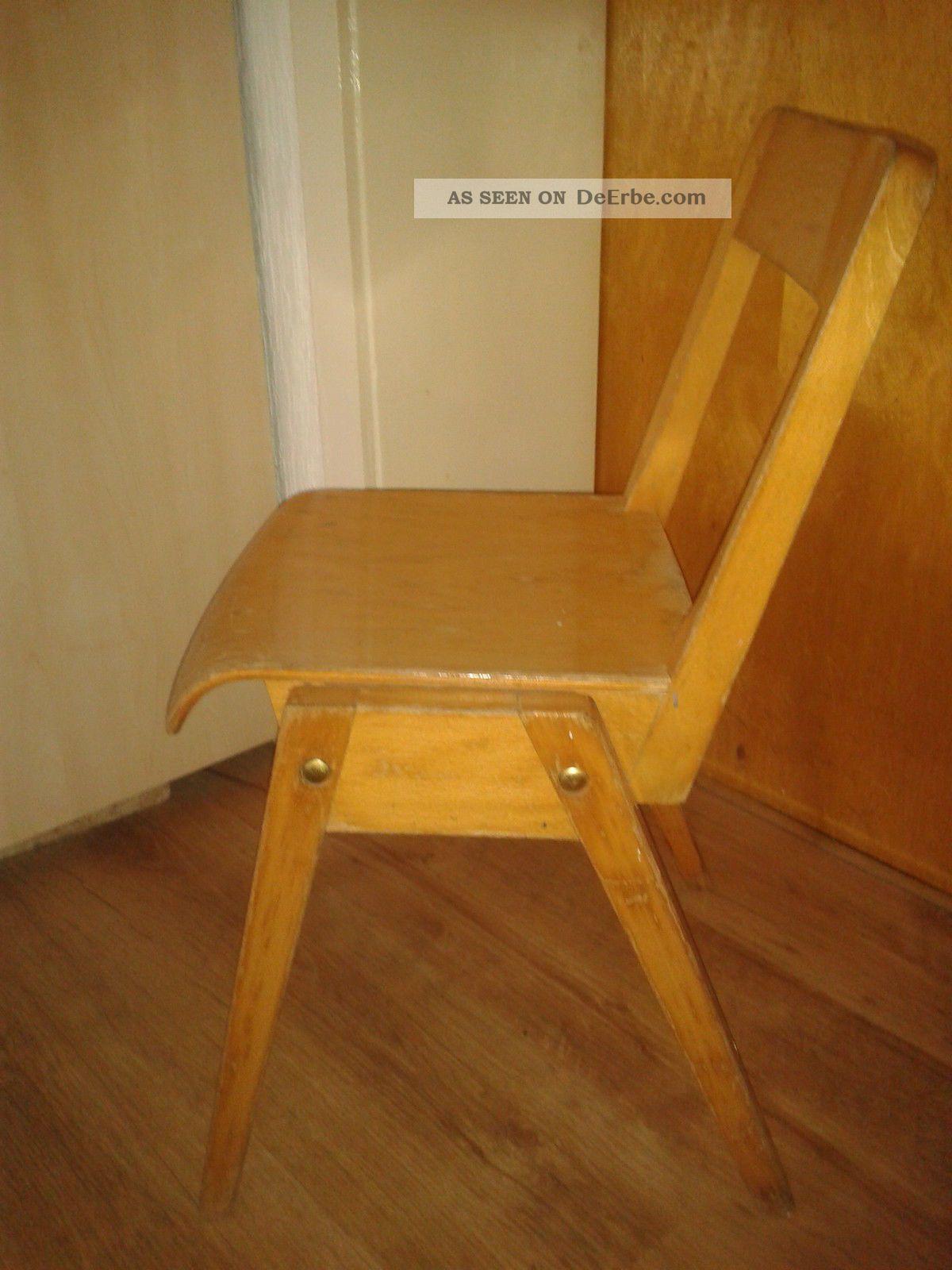 Schoner Alter Kinderstuhl Beige Aus Holz Kult
