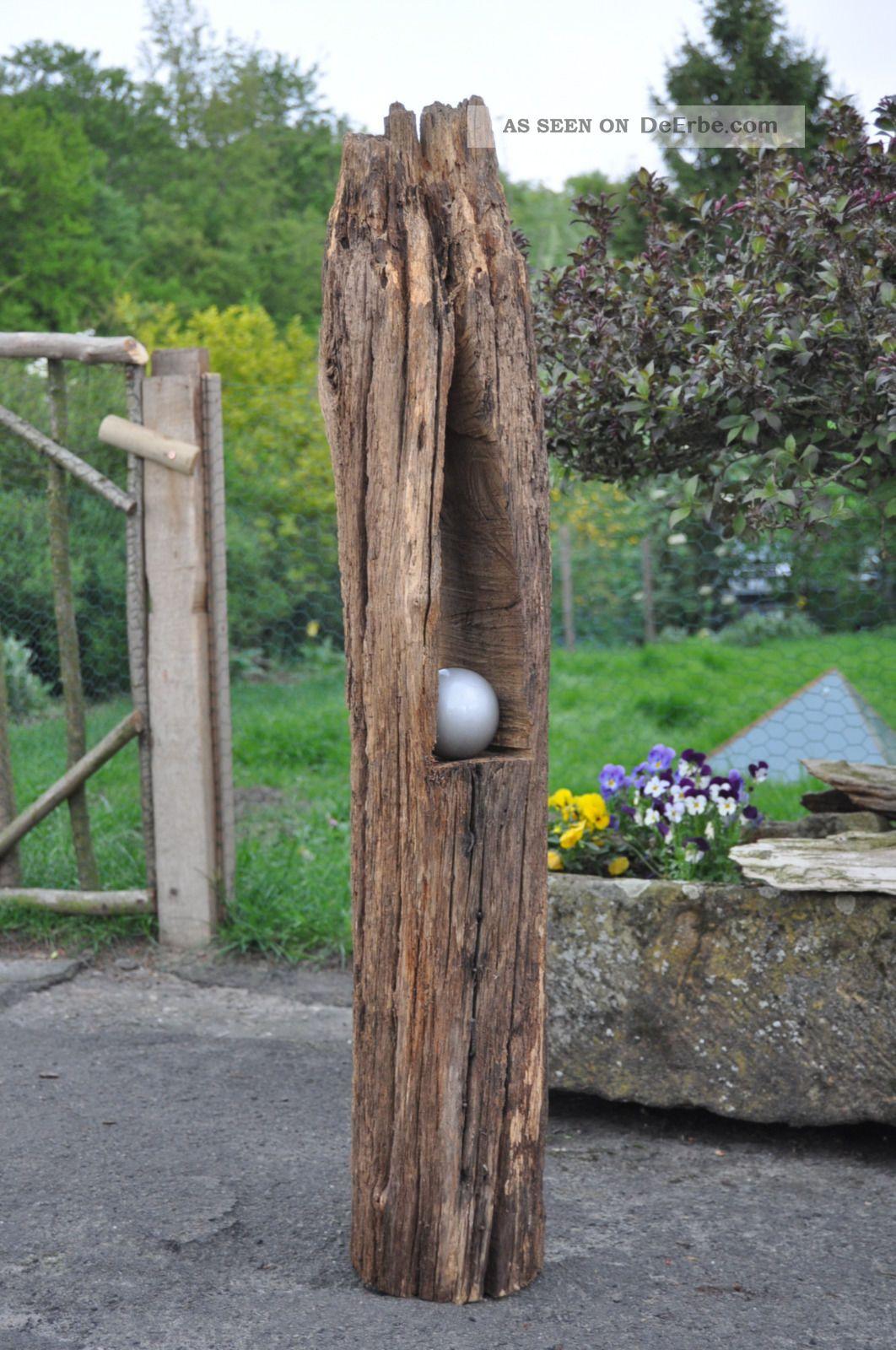 Windlicht Kerzenhalter Holzbalken Antik Gartendeko