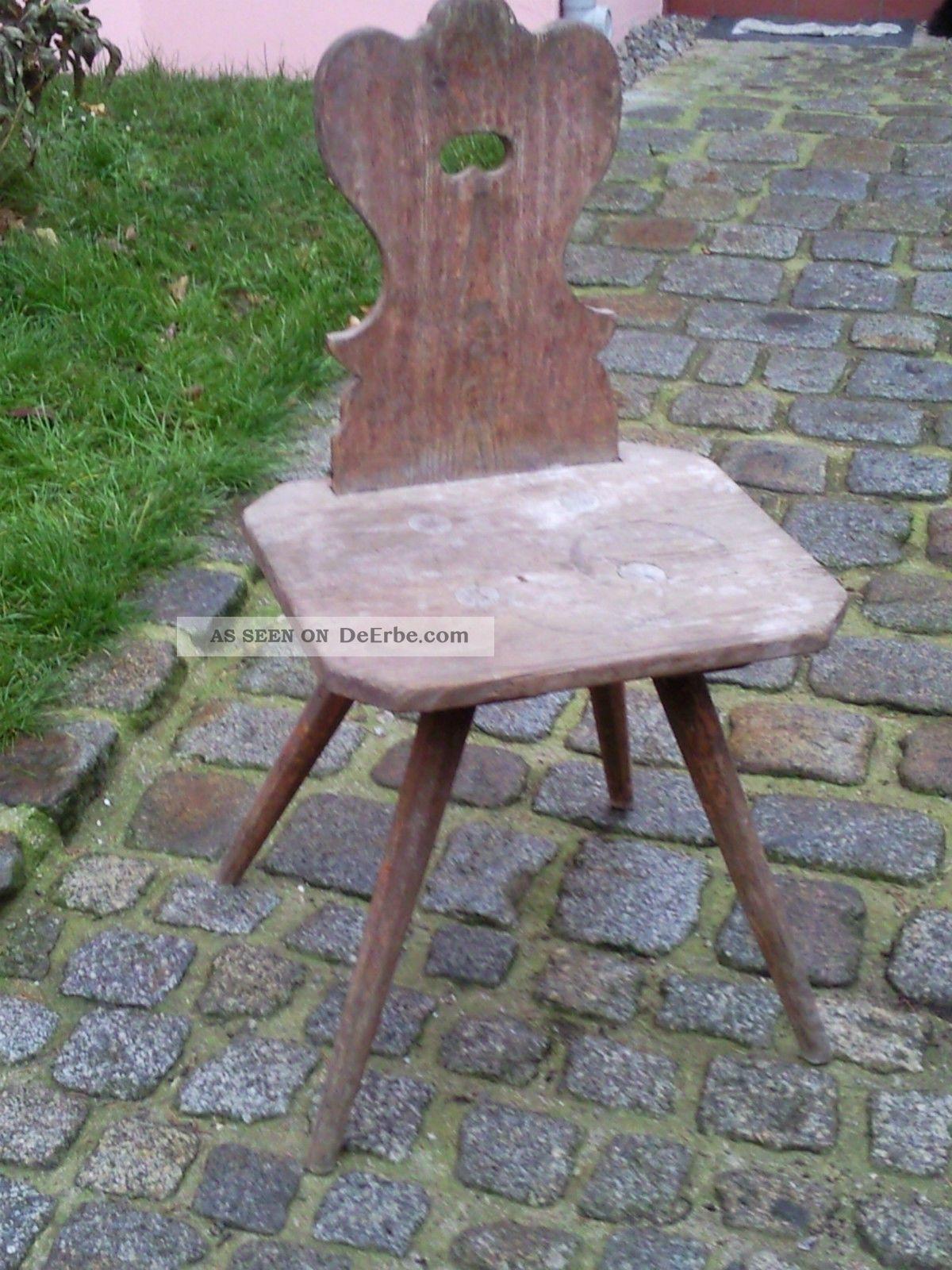 Sehr Alter Bauernstuhl Stuhl Aus Weichholz Holz Holzstuhl