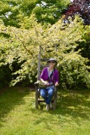 Rachel trying out a garden chair with a difference