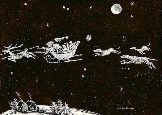 Drawing of Deerhounds coursing santa's sleigh by J. Ann Eldridge.