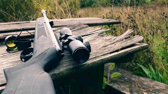 air rifle with telescopic sight for sport hunting