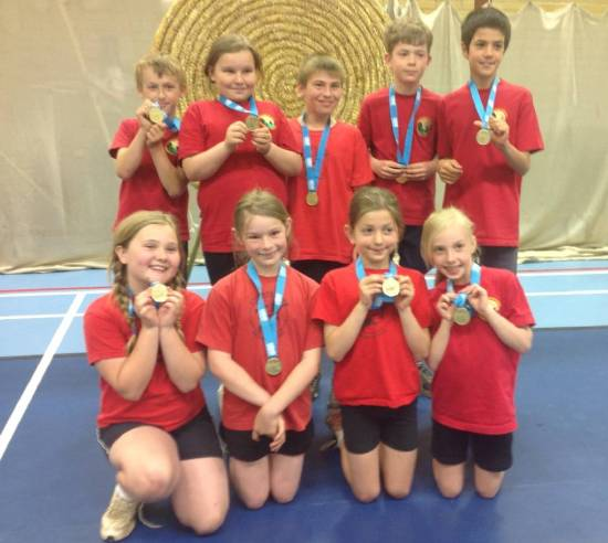 Andoversford Primary School showing off their L2 Winners Medals!