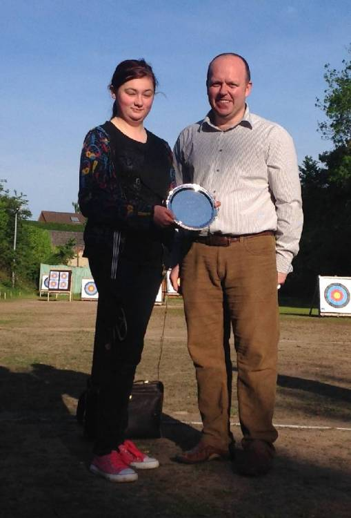 Paige Tucker receiving her winners salver from Arran Coggan.