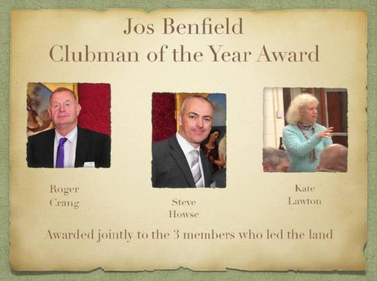 Steve, Kate & Roger received the 'Jos Benfield' Clubman of the year award on behalf of a very hardworking team!