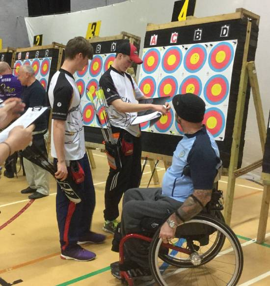 Winners of Gents Compound & Recurve, James and Tom Howse with Dave Sandles.