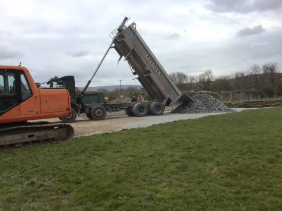 Full car park may not be complete for Friday as extra stone has had to be transported in.