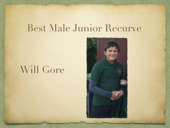Will Gore was recognised as our Best Junior Recurve at our Annual Awards Evening.