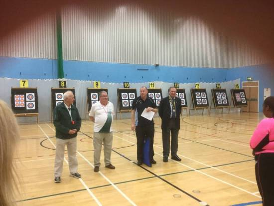 Chris Brown from the Worshipful Company of Fletchers and Richard Jones and Adrian Gifkins our judges being introduced to the assembled archers.
