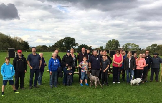 Some of the walkers that took part in recent fundraising walk around ground.
