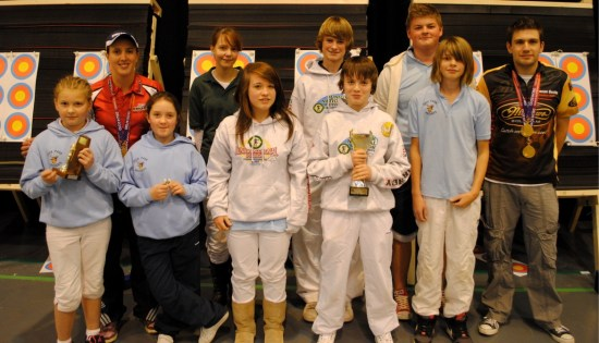 Some of our British Champions from 2010 plus other club medal winners at the Indoor Championships. James and Lucy have grown a little!