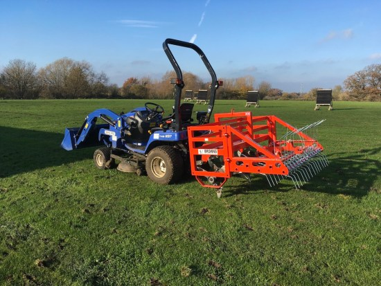 Our compact tractor in full use to maintain and improve our ground.