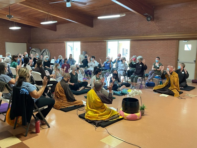 Celebrating the transmission of the Five Mindfulness Trainings.