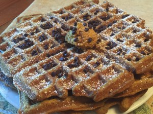 Pumpkin Spice Waffles with Mini Choc. Chips