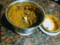 Masala is ready for green stuffed brinjal