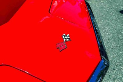 Print of the Hood of a Red Chevrolet Corvette Photo