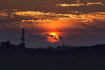 Print of a Red and Orange California Sunset
