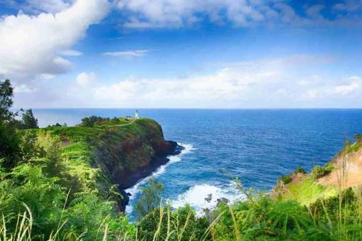 Print of Kilauea Lighthouse against the Ocean and Sky