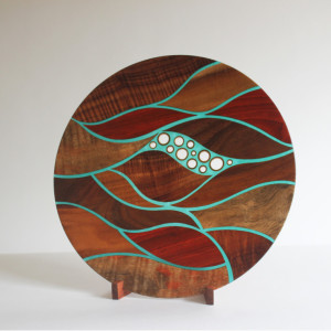 Currents Platter - koa, mango, padauk & bamboo with translucent details and koa stand