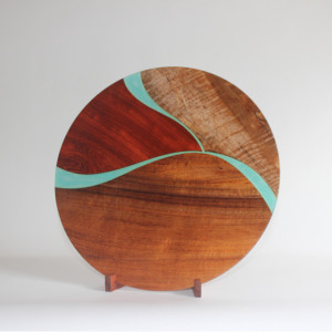 Trio Platter - koa, mango, & padauk with translucent details and koa stand