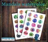 Mandala watercolor printable