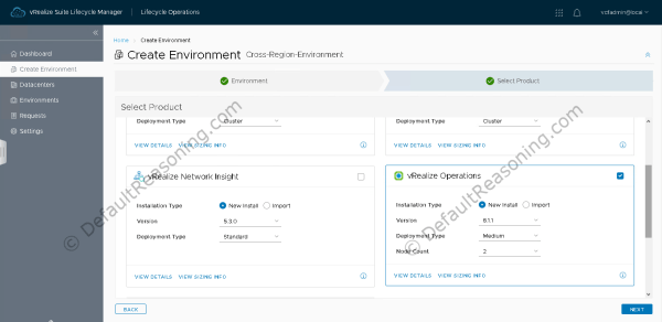 Automated deployment of vRealize Suite in VCF 4.1 - Create Environment - Select Product