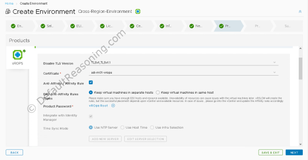 Automated deployment of vRealize Suite in VCF 4.1 - Create Environment - vROps 1