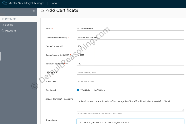 automated deployment of vRealize Suite in VCF 4.1 - Add vRA Certificate