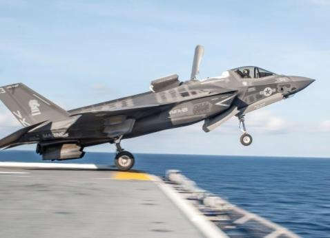 A USMC F-35B performing a short take-off