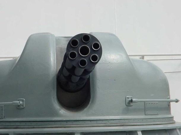 An Ak-630M Gatling gun with it's 6 barrels visible