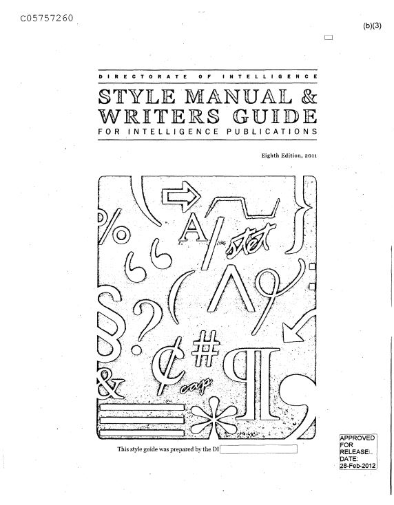 INTELIGÊNCIA POLICIAL: Style Manual and Writers Guide for
