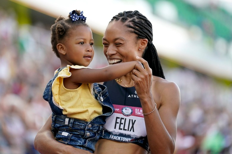 Olympian Allyson Felix receiving NNPA Leadership Award for her activism