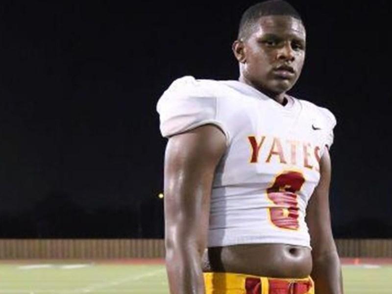 Yates junior defensive end Kameron Bizor is active
