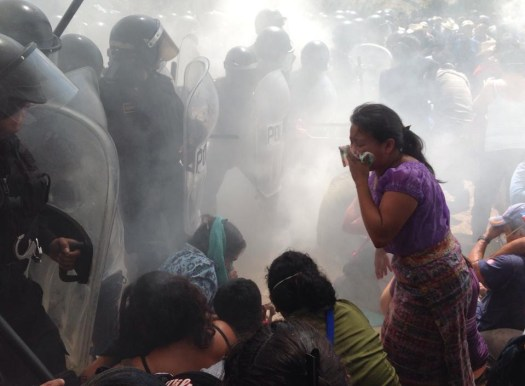 Tear gas attack in La Puya