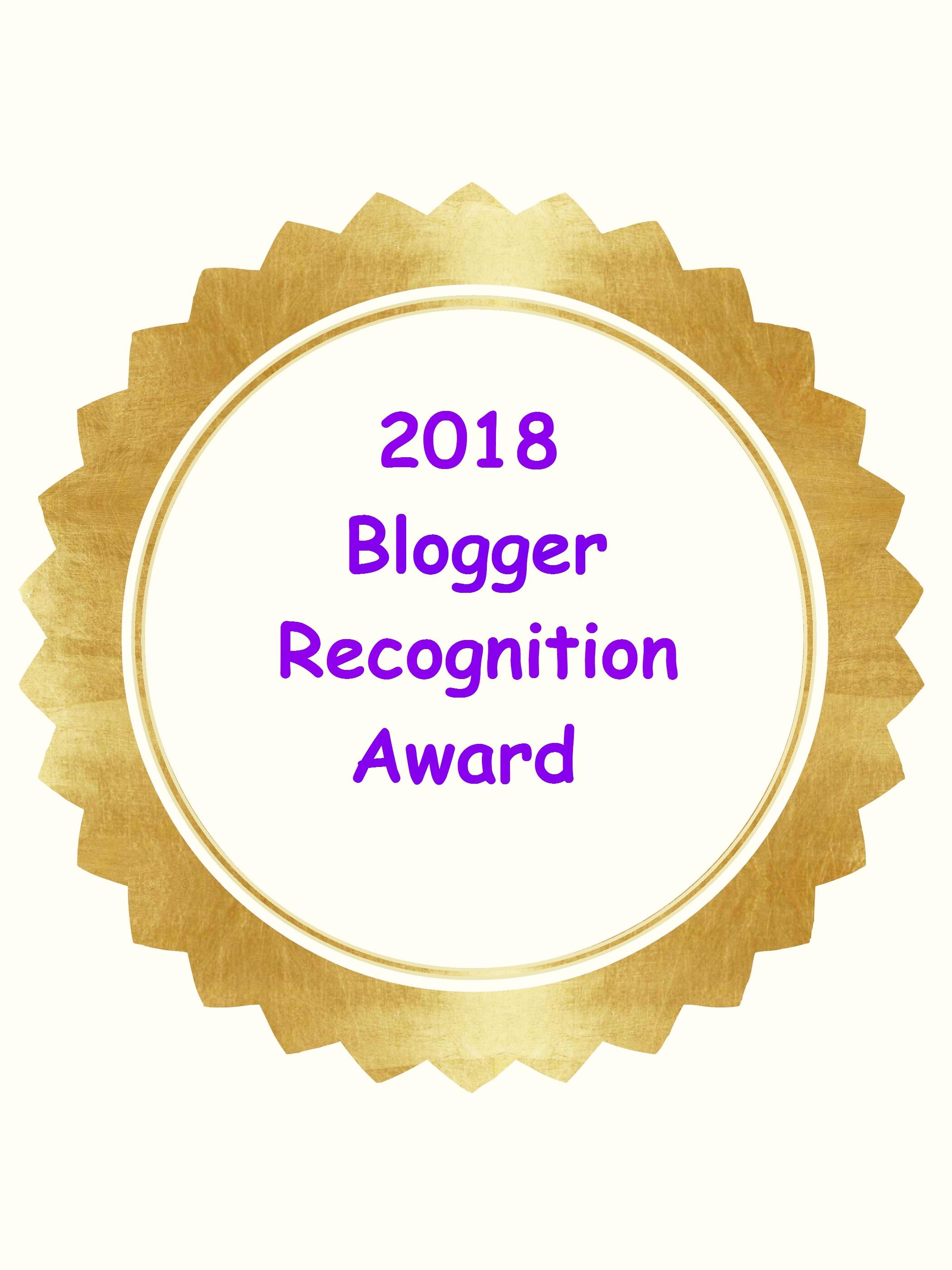 2018 Blogger Recognition Award Medallion
