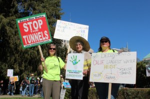 Barbara Daly and Nancy Price in Sacramento at Anti-fracking protest on March 15