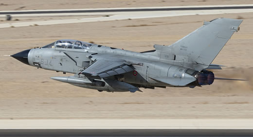 Italian Air Force Tornado strike fighter takes off from Ovda air force base in the Southern Negev. Photo: Nehemia Gershoni, www.ngphoto.biz
