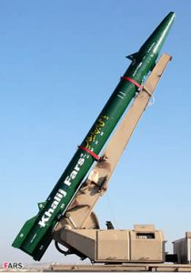 The guided version of Fateh 110 can strike targets on land or at sea with 450kg warhead. Photo: FARS news agency