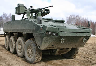 The Patria Advanced Modular armored Vehicle fitted with the Rafael Samson 30mm remotely operated weapon station. Photo: Patria