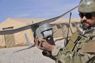 RQ-11B Raven small UAS fitted with the Mantis gimballed EO Payload