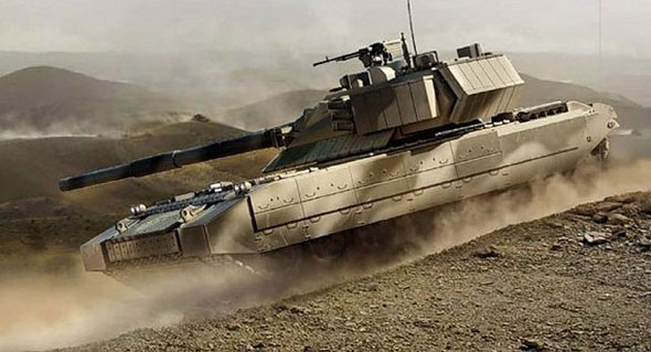 An artist concept view of the new Russian tank.