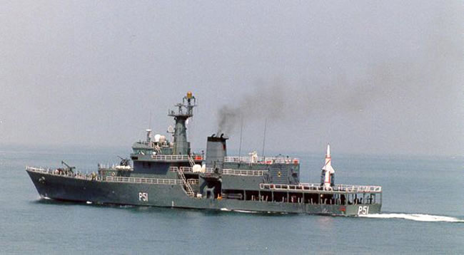 INS Subhadra (P51) carrying the Dhanush missile on the aft deck.