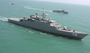 The lead ship of the Moudge class - IRI Jamaran light missile frigate