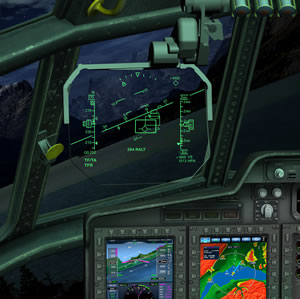 The Head-Up Display view of the TF/TA system developed for the C-130. Photo: Elbit Systems