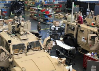 "Two of the first five prototypes undergoing installation and testing at the Prototype Integration Facility at the U.S. Army Tank Automotive Research, Development and Engineering Center. These ""super configuration"" M-ATVsare equipped with Capability Set 13 (CS 13) assets. CS 13 is the first integrated group of networked technologies - radios, sensors and associated equipment and software - that will deliver an integrated voice and data capability throughout the entire Brigade Combat Team formation, from the brigade commander to the dismounted soldier."