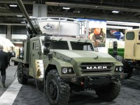 Mack displayed at AUSA the Renault Sherpa carrying the 105mm lightweight howitzer.